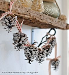 How to make a pine cone garland ~ Town and Country Living