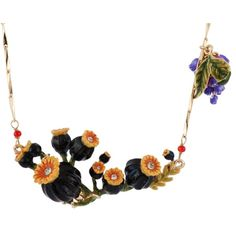 Les Néréides CHIMERA PLANT POPPIES' BUDS AND HEADS MEDIUM NECKLACE ($244) ❤ liked on Polyvore featuring jewelry, necklaces, black, jewelry necklaces, poppy jewelry, les nereides jewellery, leaf necklace, leaves necklace and poppy necklace
