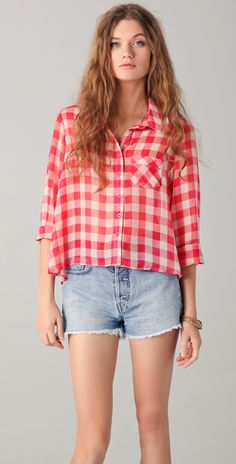 Free People Women's Button-down Sheer Gingham Button Down Blouse Bohemian Lifestyle, Cool Style, My Style, Gingham Shirt, Summer Blouses, Sheer Blouse, Short Outfits, Dress Me Up, Looking For Women