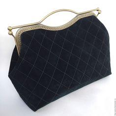 Саквояж из замши, темно-зеленый на фермуаре, замшевая сумка – купить в интернет-магазине на Ярмарке Мастеров с доставкой