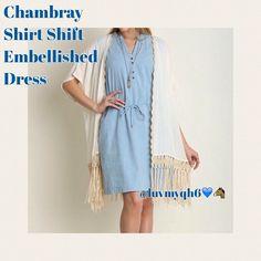 "Chambray Shirt Shift Embellished Dress Chambray Shirt Shift Sleeveless Dress. Brass Embellishments. Partial button v-neckline, side pockets, removable belt, soft material, Color- light blue. Measurements Small Length: 34"" Bust: 38"" Medium Length: 35"" Bust: 40"" Large Length: 35"" Bust: 42"". Dresses"