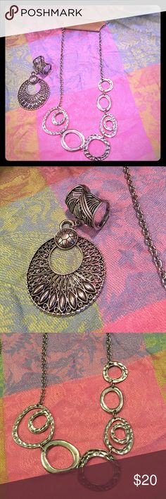 "(2) PC Jewelry Set✔️ Very Unique RING & NECKLACE (2) PC SET FOR SALE‼️ ""Erica Lyons"" Silver Tone Funky Retro Necklace & ""GB"" Silver Ring that is beyond Unique and Retro too. The Ring is about a size  7.5 ( not adjustable) the ring cover is 1.5"" long total length(Drop)  of the ring is 4"" and the necklace had an extender to make it up too 20"" ☮ feel free to ask any questions❕❗️ Erica Lyons & GB Jewelry Necklaces"