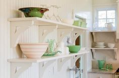 Open shelving and beadboard