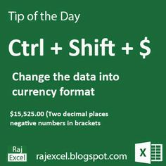 Learn Microsoft Excel: Tips of the Day Using Ctrl + Shift $ (Shortcut Key...