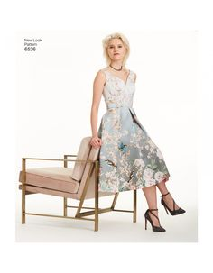 Item# New Look Pattern 6526 Misses' Dress with Bodice Variations New Look Dresses, Nice Dresses, Dresses With Sleeves, Formal Dresses, New Look Patterns, Dress Patterns, Romantic Look, Miss Dress, Vogue Patterns