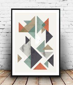 Scandinavian print geometric print abstract art by Wallzilla