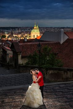 Best wedding picture from Prague Castle and st Nicholas in the back