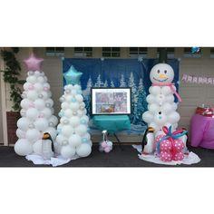 Winter Wonderland Balloon decor for a photo backdrop.