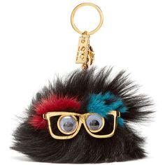 Sophie Hulme Black Ernie Pom Pom Keychain ($255) ❤ liked on Polyvore featuring accessories, black key ring, ring key chain, key chain rings, fob key chain and sophie hulme