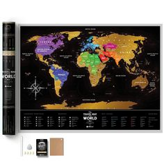 Scratch off map travel map black travel maps full color deluxe scratch off map large places ive been world travel map great scratchable world map gift for any traveller made from durable gumiabroncs Choice Image