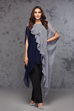 Fashion Tips Diy blue and grey chiffon overlapping top with silver and blue motive chatta on grey part By Hiba Asim Stylish Dress Designs, Stylish Dresses, Casual Dresses, Stylish Dress Book, Frock Fashion, Fashion Dresses, Indian Designer Outfits, Designer Dresses, Indian Gowns Dresses