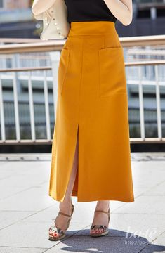 Winter Fashion Outfits, Fashion Pants, Fashion Dresses, Trending Now Fashion, A Line Skirt Outfits, Yellow Party Dresses, Hijab Style, Calf Length Skirts, Womens Maxi Skirts