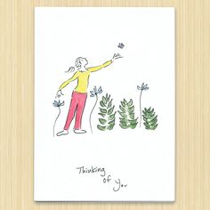 Thinking of You greeting card recycled paper card hand drawn greeting card by Rosieswonders on Etsy