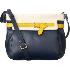 Orla Kiely Belted Leather Big Abby Bag (20.245 RUB) ❤ liked on Polyvore featuring bags, handbags, shoulder bags, purses, blue, yellow, leather handbags, blue leather handbags, purse shoulder bag and handbags purses