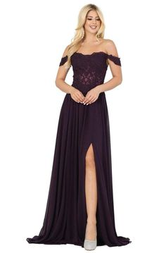 Dream big in this dazzling evening dress from Dancing Queen 2933 Prom dress. The semi-sheer bodice has a glamorously off shoulder neckline with draped sleeves, wrapped in romantic beaded lace. An A-line full skirt falls down the ground while revealing a high leg slit. This charming piece for black tie event, Prom and formal party by Dancing Queen shows pure grace and elegance. Prom Dresses Under 200, Evening Dresses Plus Size, A Line Prom Dresses, Cheap Prom Dresses, Plus Size Dresses, Evening Gowns, Short Dresses, Plum Dresses, Lace Dresses