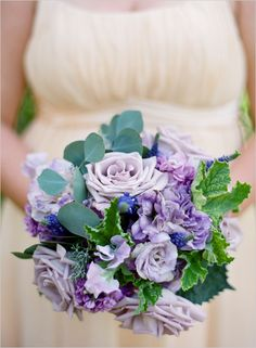 Love this bouquet with a navy dress. Lavender roses, sweet peas, lisianthus and stock. Love the Geranium and eucalyptus leaves for texture - spring purples Lavender Bouquet, Purple Wedding Bouquets, Lilac Wedding, Lavender Roses, Wedding Flower Arrangements, Yellow Wedding, Flower Bouquet Wedding, Bridal Bouquets, Boquet
