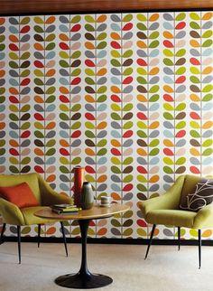 Tapete Bunte Blätter - Orla Kiely Design von Harlequin