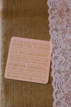 "Special ""thank-you"" coasters with a note from the Bride and Groom // Kinsey Hubbard Photography"