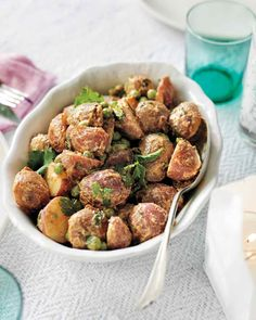 An Indian simmer sauce adds big flavor to dishes like this potato salad. Use purple potatoes
