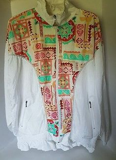 Womens Casual Isle White Floral Multicolor Graphic Bomber Jacket Large