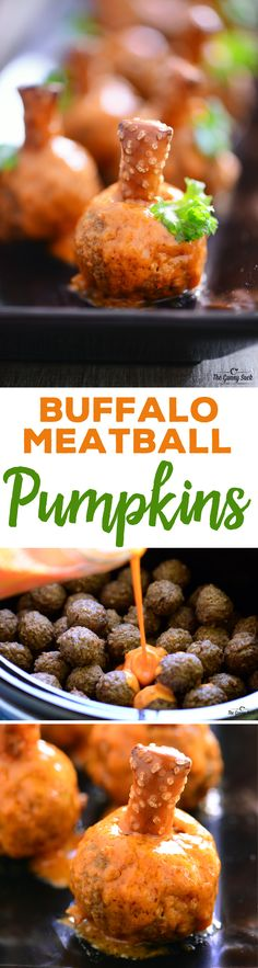 Looking for AWESOME Halloween recipes? Try these Buffalo Meatball Pumpkins for your fall parties. They have a pretzel stem, parsley leaf and buffalo sauce. (recipe sponsored by Casa di Bertacchi)