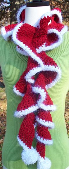 Image detail for -Crochet Ruffle Scarf Merry Christmas Santa by DiddlyDaddly on Etsy