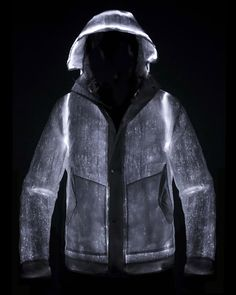 L.E.D Jacket by Nemen - A jacket with luminous fiber optical thread woven into the shell, and an aluminum layer underneath for reflectivity and warmth.