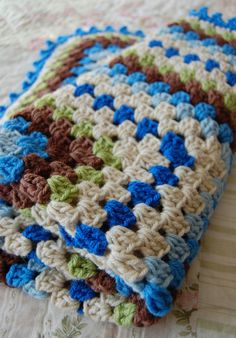 Colorful Crochet Granny Square Baby Blanket Afghan Baby Shower Gift - EMCPC - blue, green, brown. $35.00, via Etsy.