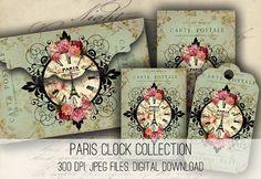 Envelopes Paris Relógio, cartões e Tags Download - Colagem Digital Folha Baixar