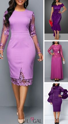 Must have purple perfect holiday dress outfit! Dr office holiday party doesn't have to be difficult. From sparkly pieces to a chic monochrome look, you'll catch everyone's eye in any one of these super-cute dress outfits! Cute Dress Outfits, Super Cute Dresses, Trendy Dresses, Elegant Dresses, Sexy Dresses, Casual Dresses, Office Dresses, African Fashion Dresses, African Dress
