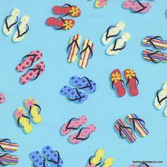 Flip Flops on aqua by Alice Kennedy for Timeless Treasures Beach-C1190-Aqua