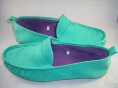 Canvas mint/turquoise loafers.