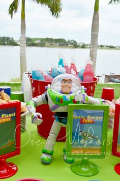 Space fueling station at a Toy Story party!  See more party ideas at CatchMyParty.com!  #partyideas #toystory