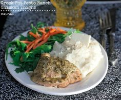 Crock Pot Pesto Ranch Chicken Thighs from Picky Palate