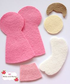 """Felt angel pieces - Angel Tutorial from Molly and Mama = HAIR info and patterns will help with """"Princess"""" and """"Paperdoll"""" quilt blocks Christmas Angel Ornaments, Felt Christmas Decorations, Felt Ornaments, Christmas Sewing, Handmade Christmas, Christmas Crafts, Felt Angel, Felt Crafts Patterns, Angel Crafts"""