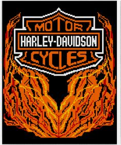Crochet Parfait: Harley Davidson Afghan Chart, gotta be nuts to tackle this one, but it is cool!