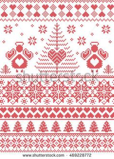 Scandinavian style inspired Christmas and festive winter seamless pattern in cross stitch, knitting style with Xmas trees , snowflakes, angels, stars, hearts, decorative ornaments in red  and white