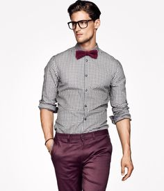 Men's White and Black Gingham Long Sleeve Shirt, Burgundy Chinos, Burgundy Bow-tie Burgundy Chinos, Burgundy Bow Tie, Red Chinos, Burgundy Shoes, Khakis, Mens Dress Pants, Men Dress, Pant Shirt, Stylish Men
