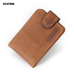 1ed7357f0f2 Women Small Money Card Wallet Vintage Crazy Horse Men Leather Wallet Id  Badge with Money Hasp for Credit Cards-in Card & ID Holders from Luggage &  Bags on ...