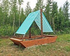 Ship Sandbox Do your kids like to play pretend? Make this DIY Sandbox, and they can sail through the backyard, having adventures! Backyard Play, Backyard For Kids, Backyard Projects, Outdoor Projects, Backyard Ideas, Backyard Games, Diy Projects, Garden Ideas, Build A Sandbox