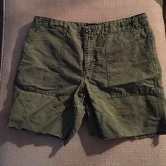 Olive Green J.Crew Cargo Shorts Army green cargo shorts with frayed detailing. J. Crew Shorts Cargos