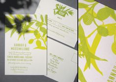 Hannah + Massimiliano's Tuscan-themed wedding stationery. Olive foliage and warm greens silkscreen printed on 'stone' coloured card.
