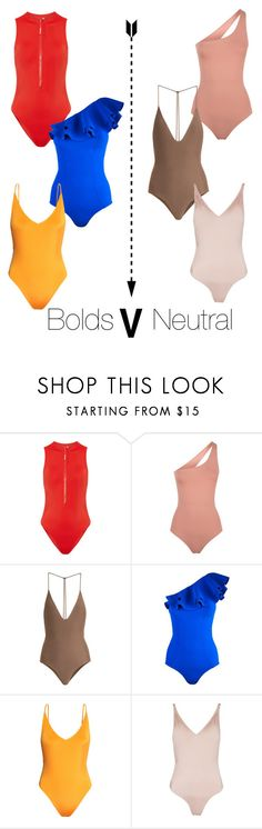 """The battle of swimsuits... I refuse to pick a side instead I'll have one of each style thanks"" by jojoyexleystyle on Polyvore featuring Calvin Klein, Melissa Odabash, Jade Swim, Lisa Marie Fernandez, H&M and Topshop"