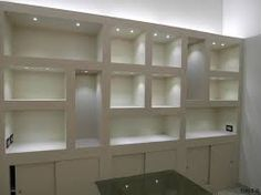 Risultati immagini per mobili cartongesso Tv Wall Shelves, Shelving, Bookshelves Built In, Built Ins, Muebles Rack Tv, Living Room Interior, Living Room Decor, Dirty Kitchen, Niche Design