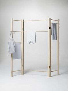 Designed by Anonym Design, the foldable 360 Degrees Foldable Garment Rack from Nomess in Copenhagen is made of solid ash; go to Nomess for ordering information.