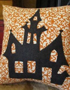 Haunted house pillow by agraceunlimited on Etsy, $85.00 (Check out her shop!  The quality and beauty can't be beat!)