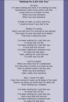 Waiting For A Girl Like You lyrics by Foreigner