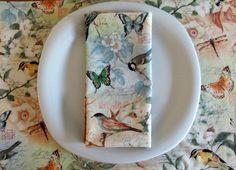 Dinner Napkins 4 with Birds Butterflies by ItsHandmadebyArianne