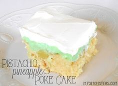 Pistachio Pineapple Poke Cake recipe -- a dessert spin on Watergate Salad at my3monsters.com