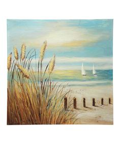 Sea Oats Blowing Over the Water's Edge Outdoor Wrapped Canvas